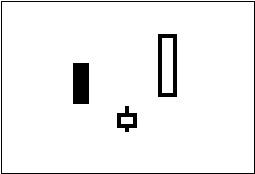ローソク足チャートでの買いのサイン(シグナル)の一つ「三川明けの明星」を図で表している。