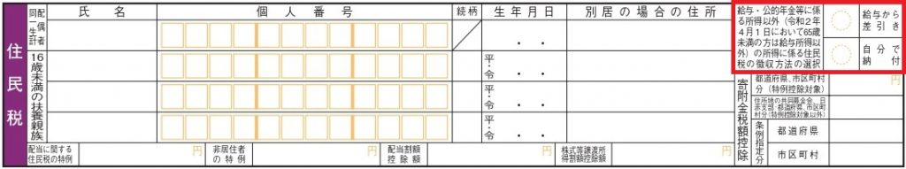 確定申告書B第二表、住民税欄を切り取った図。徴収方法の選択に赤枠印が入れられている。