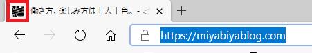 ファビコンを設定した時の、サイト情報表示結果。赤枠部にファビコンが表示されている。