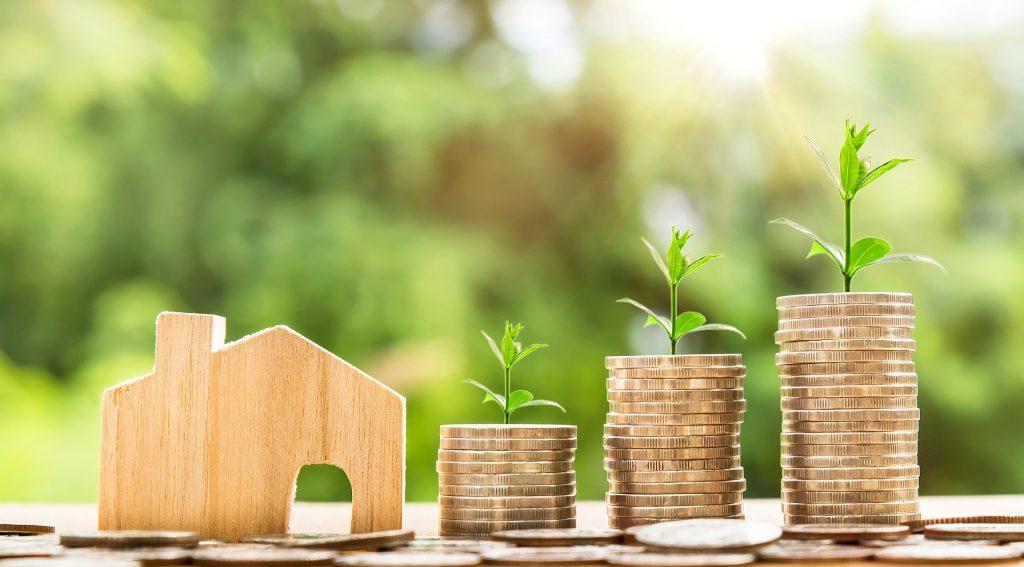 不動産投資のイメージ。木を家の形に削った模型と、積み重ねられたコインから植物の芽が育っている。