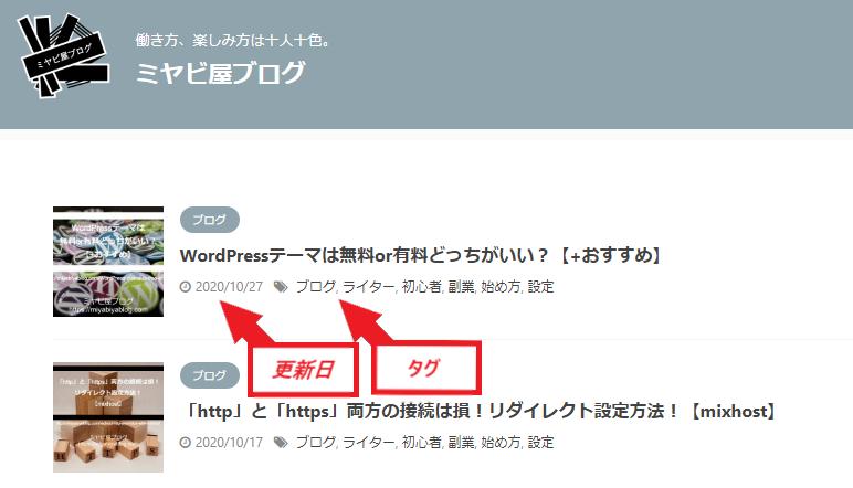 トップページの記事一覧に、更新日とタグが表示されている画面。