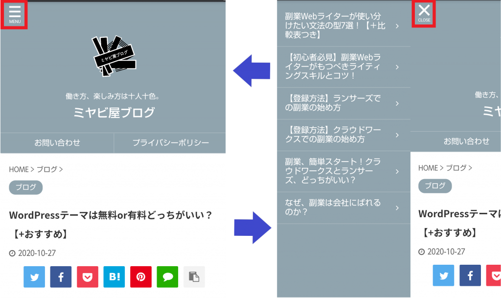スマホ用スライドメニューが有効で、メニュー下にOPENとCLOSEが正しく表示されていることが解る画像。