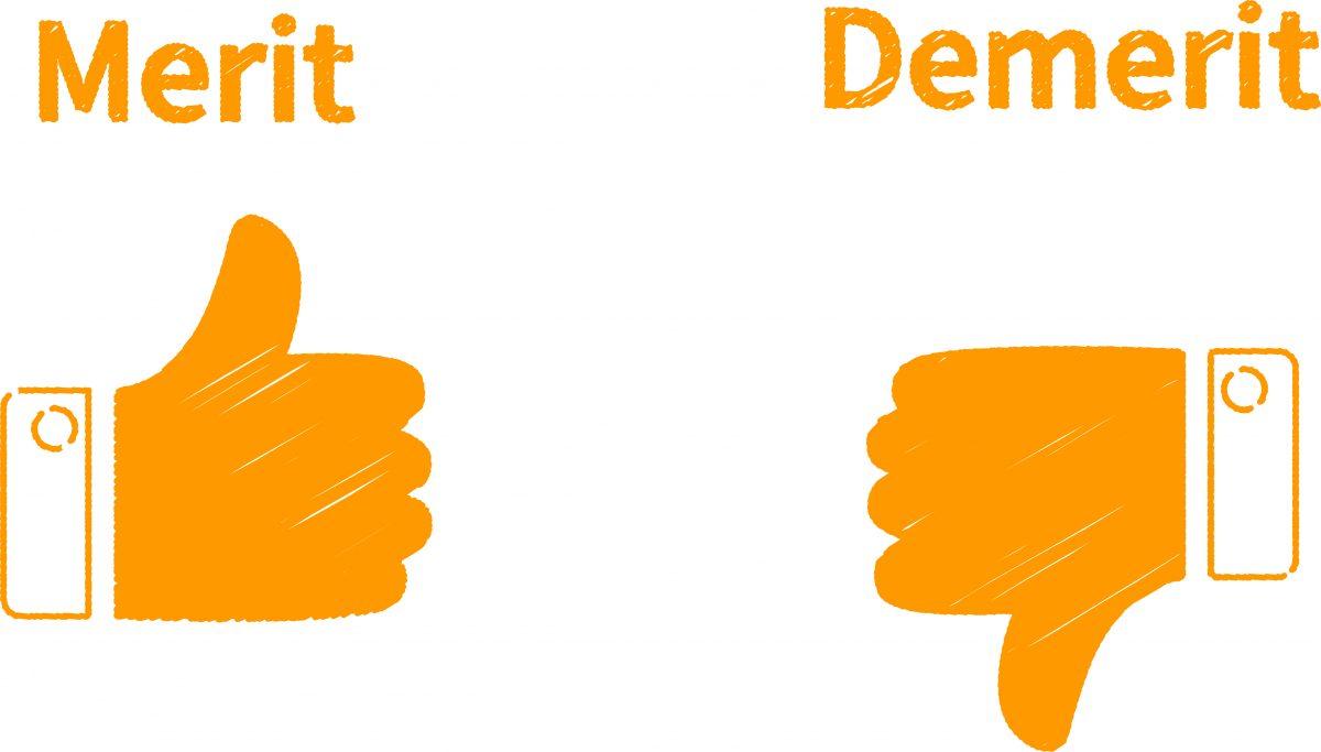 メリットとデメリットのイメージ。左側に親指を立てたいいねマークのメリット、右側に親指を下に向けたデメリットのイラストが表示されている。