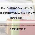 「モッピー経由のショッピング、楽天市場とYahoo!ショッピング比べてみた!」のイメージ画像。パソコンの前にショッピングバッグが置かれている画像を背景に記事タイトルが表示されている。