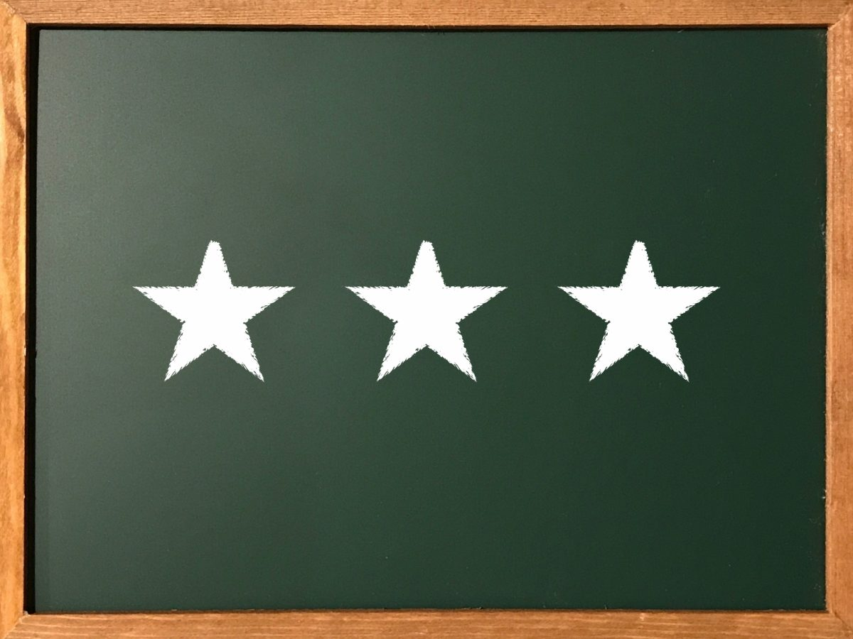 黒板に書かれた三ツ星