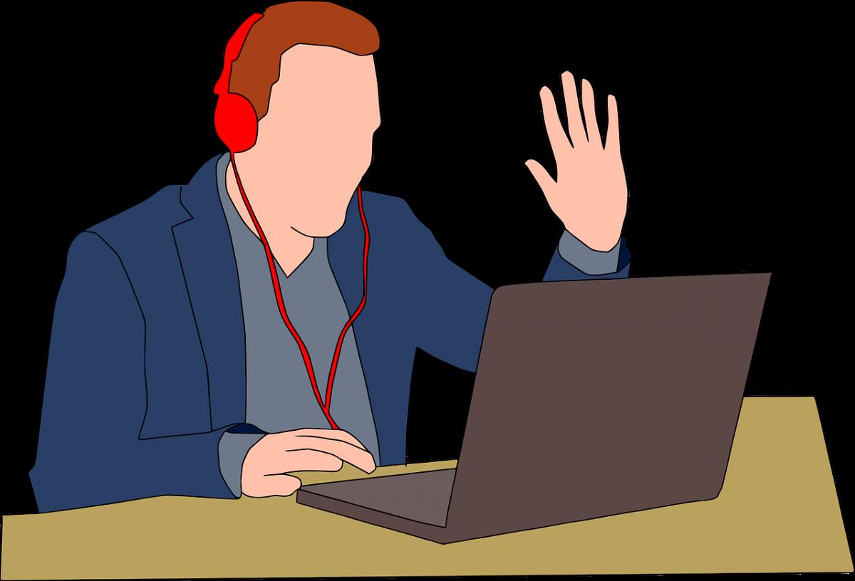 web会議をしている男性のイラスト