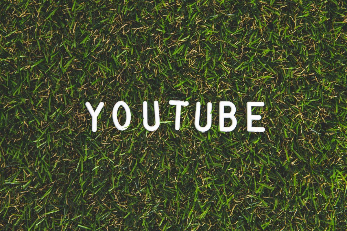 草むらにYouTubeのロゴが表示されている